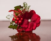 Christmas Clip or Headband in Shades of Red, sparkles, and green - Photo Prop - Baby Headband - Newborn Clip