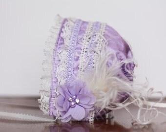 Baby Bonnet - Ivory Newborn Photo Prop - Vintage Inspired Prop - Baby Hat - Newborn Bonnet