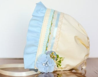 M2M Bonnie Blue - Baby Bonnet - Newborn Photo Prop - Vintage Inspired Prop - Baby Hat - Newborn Bonnet