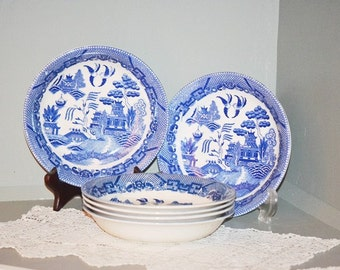 Vintage Blue Willow Flat Soup Bowls
