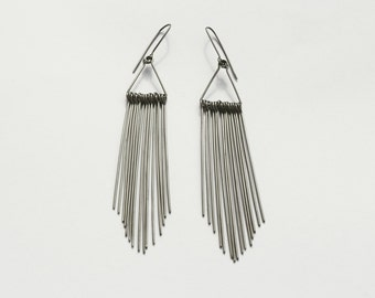 Long silver dangle earrings made of stainless steel  Feathers M