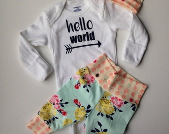 Newborn Baby coming home outfit floral and polka dot going home set/ hello world /coming home from the hospital set/newborn baby set