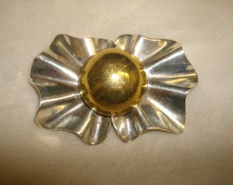 """Vintage Taxco Mexican Sterling Silver Abstract BOW FLOWER Pin ~ signed Mexico 925 TM-116 ~ (2-1/2x1-3/4x5/8"""") ~ 18 grams solid sterling"""