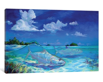 iCanvas A Place I Would Rather Be - Bonefish Gallery Wrapped Canvas Art Print by Mike Savlen