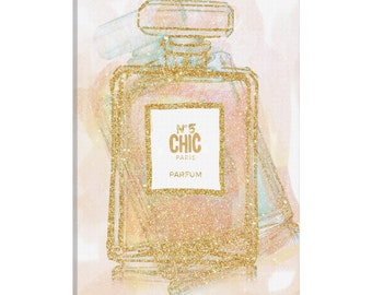 iCanvas Chic Bottle I Gallery Wrapped Canvas Art Print by Natasha Westcoat
