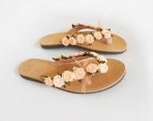 Peach Flip Flops , Leather Flip Flops , Bridal Flip Flops , Salmon flip flops , Bridesmaid Sandals , Beach Wedding Sandals , Peach Wedding