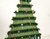 "1960s macrame Christmas tree hippie minimalist wall hanging BOHO woven crocheted hanging 30"" high"