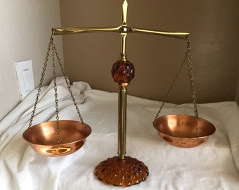 Amber glass scales of justice with solid copper pans topaz art glass Hollywood regency