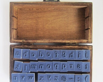 Wooden boxed set lower case alphabet rubber stamp set collection with punctuation