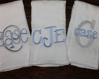 Set of three monogrammed/appliqued burp cloths-baby boy baby girl gift-baby shower-hospital-coming home gift-personalized-unique-blue & gray