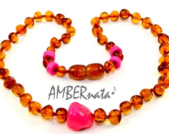 NATURAL BALTIC AMBER Unique Baby Teething Necklace with Certificate of Authenticity