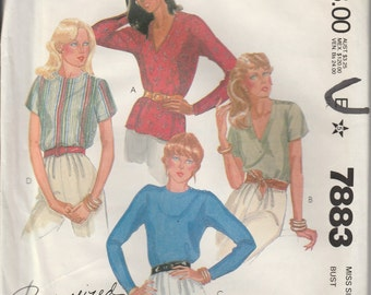 1982 McCall's pattern 7883 misses blouse size 8