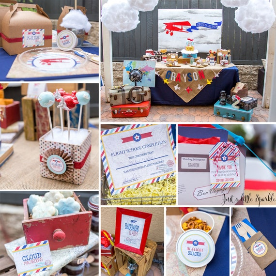Printable Vintage Airplane Party Collection Diy By: Vintage Airplane Party Printables Airplane Birthday Airplane