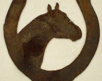 4 Metal Cut-Out Rustic Horse Head with Horse Shoe