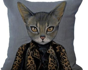 Cats In Clothes Pillow Cover - Kat - Painting by Heather Mattoon