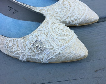 Wedding Shoes - French Knotwork Lace Pointed Toe Flats - Pearls and Crystals - Ivory/Champagne/Black