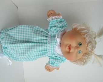"""14"""" Baby Cabbage Patch Aqua/White Print Nightgown"""