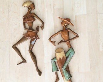 Big Vintage MCM Wall Decor Mid Century Midcentury Modern 1950s 1960s Tiki Congo Drum Players Figural Jamaican or Haitian Man Women Metal Art