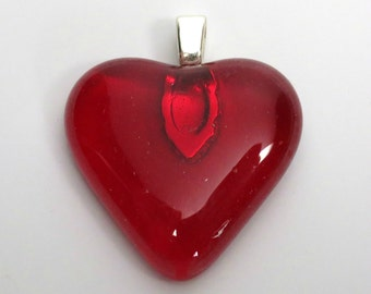 Red Glass Heart Pendant with Silver Bail