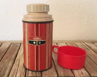 Vintage Red Metal Thermos