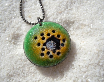 Yellow and Green Enamel Necklace Artisan Jewelry