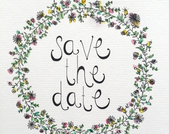 SAVE THE DATE - hand illustrated card