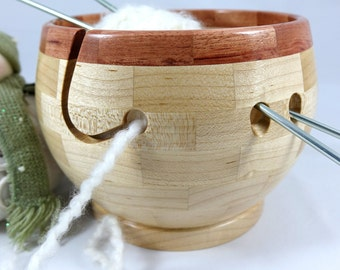 Wooden Maple Knitting Bowl As Shown In Knit Wear and Interweave Knits Magazines, Bubinga Rim, Lathe Turned, Segmented