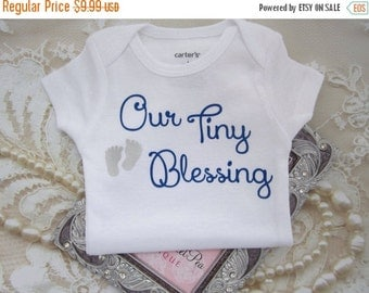 SALE 25% OFF - Our Boy's Tiny Blessing Bodysuit. Vinyl letters on White a Carter's one piece. Buy ONE for a baby shower gift. By Lil Miss Sw
