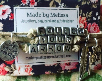 Design your own  country music lyrics inspired charm bracelet on faux suede