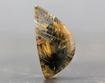 Gold Rutile with Hematite Gemstone Jewelry Pendant Supply Crafting Tools Collectible Stone Collector Rock Unique Jewelry (CA5889)