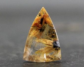 Fine Brazilian Gemstone Gold Star Rutilated Quartz with Hematite, Precious Stones for Jewelry, Beadding, Collectors - Golden Hair Rutile Gem