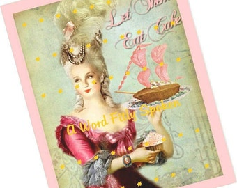 "CIJ-SALE 8x10 Marie Antoinette Fabric Panel Quote ""Let them eat cake!"" Pink Shades on Quilt Blocks & Panels, Wall Art, Pillow Top FB-237A"