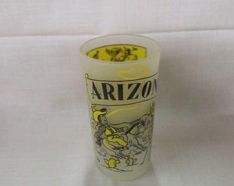 Vintage Arizona Souvenir Tumbler Glass Frosted Glass Hazel Atlas Kitchenware Kitchen Ware