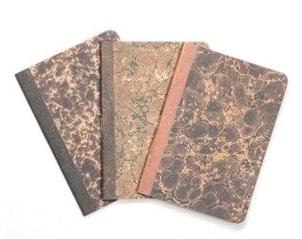 Marbled Trio -  lot of 3 notebooks - vintage inspired marbled paper orange brown and black  - MAR6003