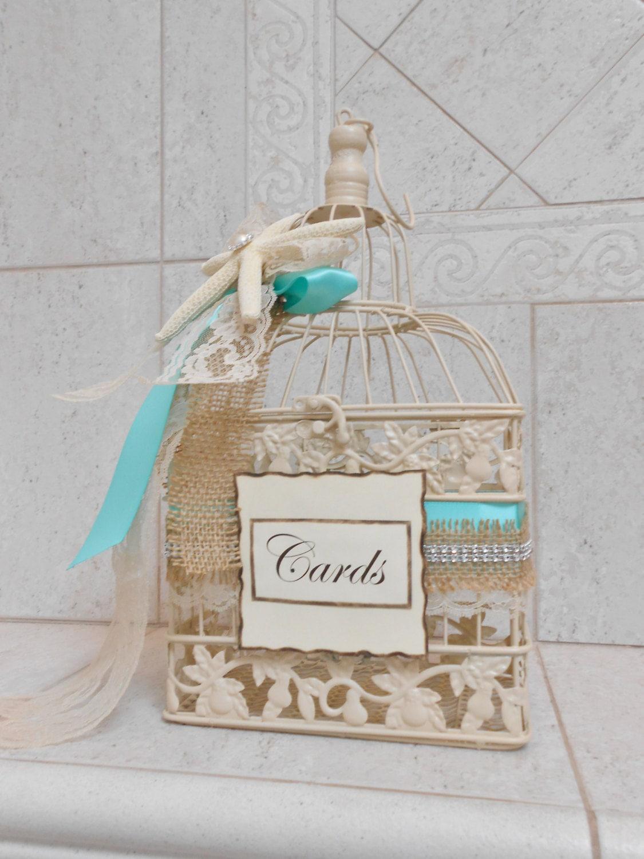 Small Beach Wedding Birdcage Card Holder - Beach Wedding Card Box ...
