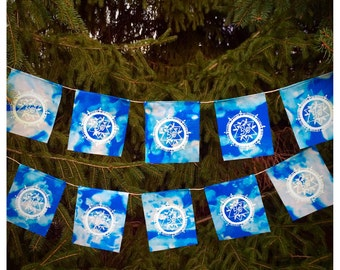 Om Cloud Prayer Flags, Glow in the dark