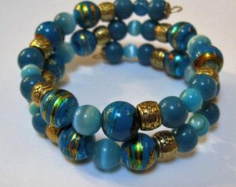 Ocean Blue Beaded Bracelet on Gold Tone Memory Wire