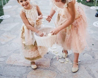 Shabby Chic Flower Girl Dress Peach and Gold Girls Gown
