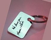 Handwritten jewelry,Key chain for men, handwriting necklace, dog tag, gift for him, keychain, gift for men, jewelry for men