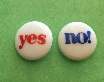2 - Yes No Verbal Buttons Embelishment Sewing