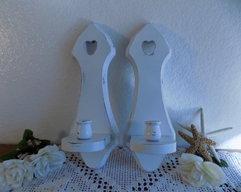 White Shabby Chic Candleholder Set Rustic Candle Holder Wall Sconce Pair Beach Cottage French Country Farmhouse Romantic Seaside Home Decor