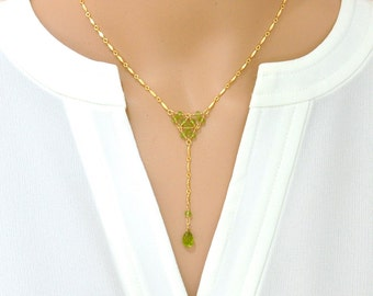 Peridot Geometric Necklace / Peridot Gold Necklace / August Birthstone Necklace / Green stone Gold Necklace / Gold Peridot Necklace
