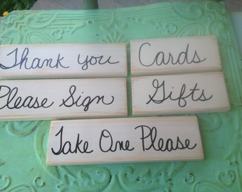 Wooden Wedding Sign Set, Ivory and Black Wedding Sign Set, Wedding Decor-Signs