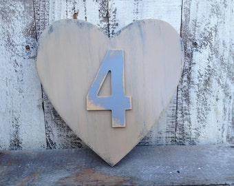 Shabby Chic Number Four Sign, Home Decor Heart Number Signs, Gallery Wall Number Heart