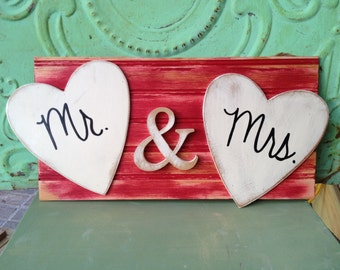 Distressed Red and Ivory Mr. and Mrs. Hanger, Red Wedding Signage, Mr. and Mrs. Hearts