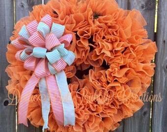 Fall Wreath, Everyday Wreath, Coral/Orange Ruffle Grip Liner Wreath, Ruffle Wreath