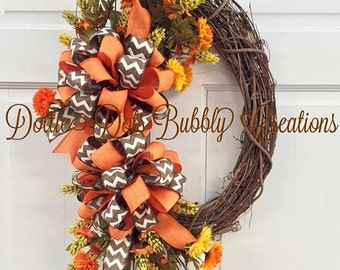 Fall Floral Oval Grapevine Wreath, Fall Wreath, Autumn Wreath