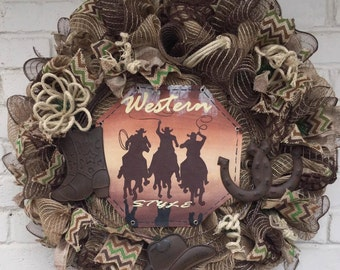 Cowboy Wreath, Western Wreath, Jute Mesh Cowboy Wreath