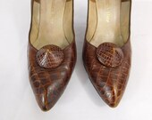 Vintage 1950s Christian Dior alligator/reptile brown high heels size 7