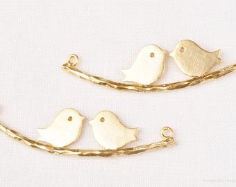 P003-01-MG// Matt Gold Plated Bird Pendant, 2pcs